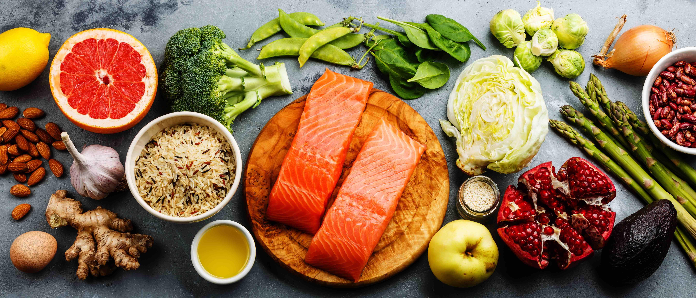 Healthy food clean eating selection: fish, fruit, vegetable